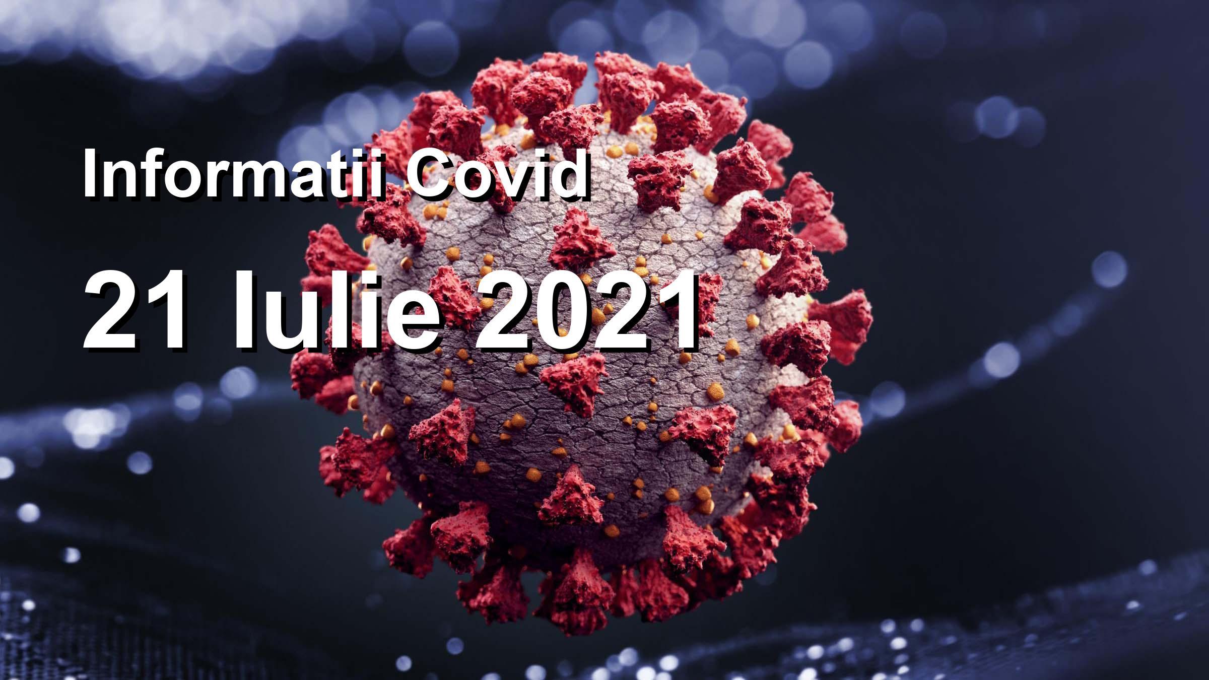 Informatii Covid-19 pentru 21 Iulie 2021: 102 infectari, 27164 teste. | Coronavirus Romania