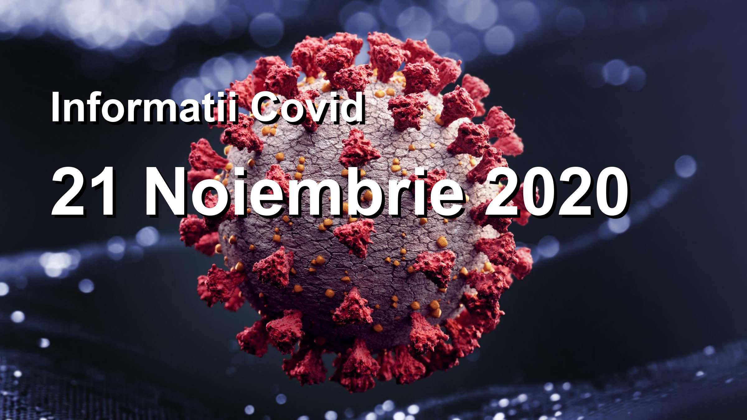 Informatii Covid-19 pentru 21 Noiembrie 2020: 9685 infectari, 33221 teste. | Coronavirus Romania