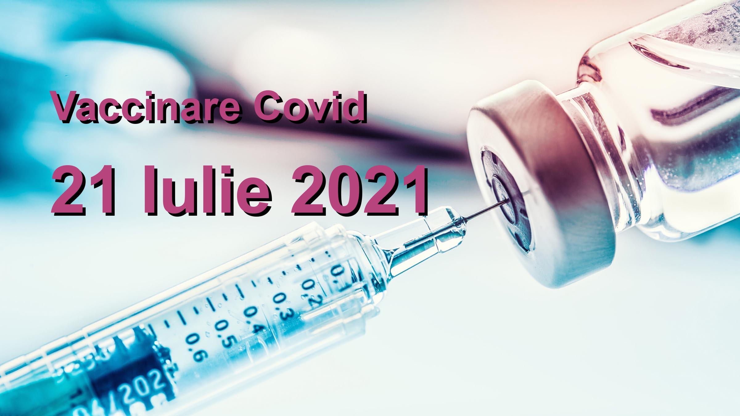 Campanie vaccinare Covid-19 pentru 21 Iulie 2021: 15178 persoane vaccinate. | Vaccin Covid-19 Romania